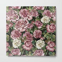 Vintage & Shabby chic -  Retro Roses Pattern Metal Print