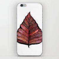 decal iPhone & iPod Skins featuring Modern leaf art | green leaves wall decal | botanical leaf decor | botanical leaves | leaf & plant by WestridgeART