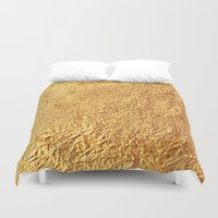 black and gold Duvet Covers featuring Gold by Patterns and Textures
