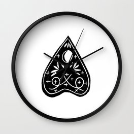 Linocut Planchette ouija mystical magical arts black and white linocuts Wall Clock