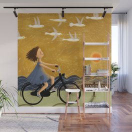 Girl Riding Bike and Seagulls and Happiness Wall Mural