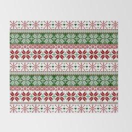 Green & Red Winter Fair Isle Throw Blanket