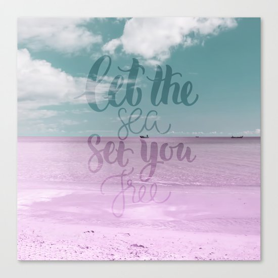 Let the Sea set you Free- Pink Summer Beach Sea Ocean Nature on #Society6 Canvas Print