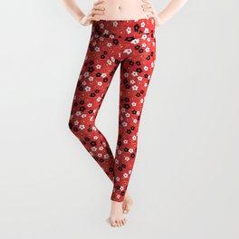 Red Sakura Kimono Pattern Leggings