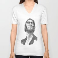 lincoln V-neck T-shirts featuring Lincoln 49 by David Sparvero