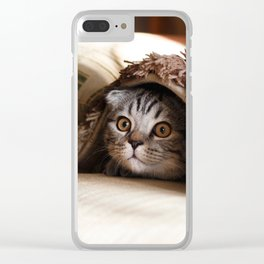 Cute kitten looking from sofa Clear iPhone Case