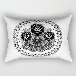 Floral Moth Mandala Rectangular Pillow