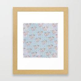 Cherry Sundaes Blue Framed Art Print
