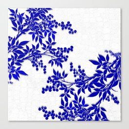 BLUE AND WHITE  TOILE LEAF Canvas Print