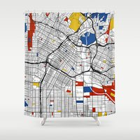 los angeles Shower Curtains featuring Los Angeles by Mondrian Maps