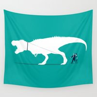 t rex Wall Tapestries featuring Walking the T-Rex by rob art | simple