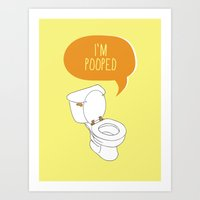 pun Art Prints featuring Toilet Pun by Zeke Tucker