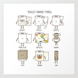 toilet paper types Art Print