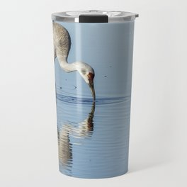 Sandhill Crane and Reflection Travel Mug