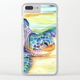 Rainbow Sea Turtle 2 Clear iPhone Case
