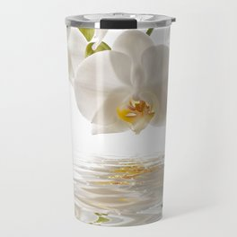 White Orchids Travel Mug