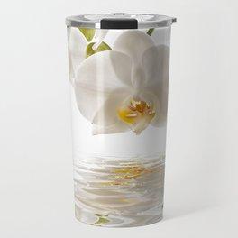White Orchids Travel Mug