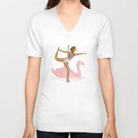 swan V-neck T-shirts featuring Swan by Janaína Esmeraldo