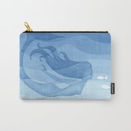 Mermaid, watercolor, blue, fish Carry-All Pouch