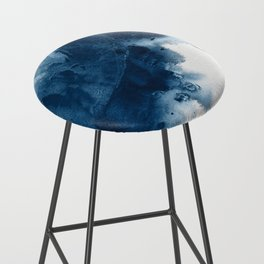 Where does the dance begin? A minimal abstract acrylic painting in blue and white by Alyssa Hamilton Bar Stool