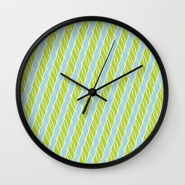 Light Green and Blue Stripes Wall Clock