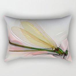 Dragonfly creeps on a white Rectangular Pillow