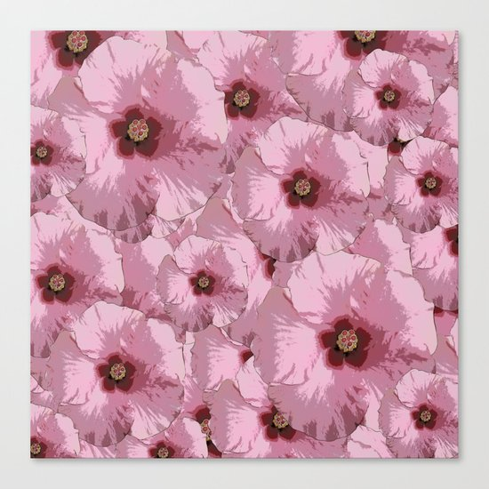 Pink Hibiscus World Canvas Print