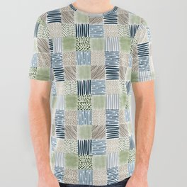 Jungle Set | hand illustrated quilt pattern All Over Graphic Tee