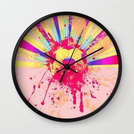 Rainbow rays soccer ball Wall Clock