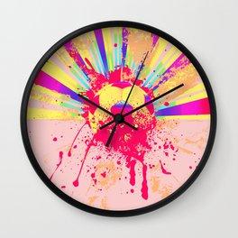 Rainbow rays soccer ball Wall Clock