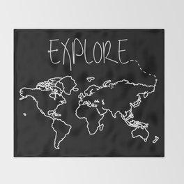 Explore World Map Throw Blanket