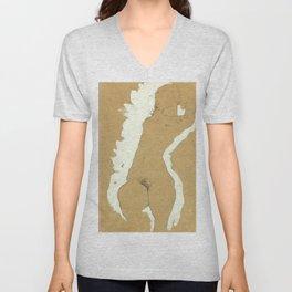 """Egon Schiele """"Female Nude with White Border"""" Unisex V-Neck"""