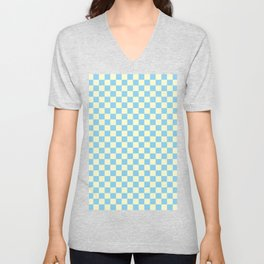 Cream Yellow and Baby Blue Checkerboard Unisex V-Neck