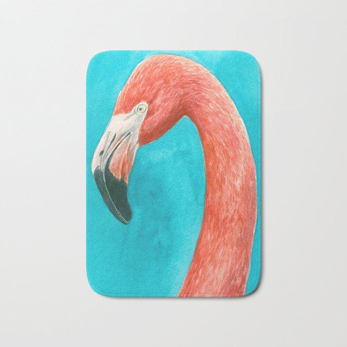 Flamingo watercolor portrait Bath Mat