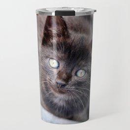 Sweet looking black kitty with big, beautiful eyes. Travel Mug