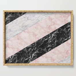 Pink marble allsorts stripes Serving Tray