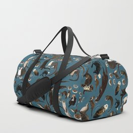 Otters of the World pattern in teal Duffle Bag