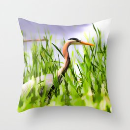 Master of the Marshes  -  Blue Heron Throw Pillow