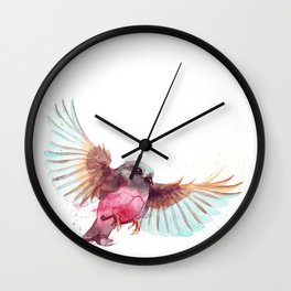 Pink Robin Bird Wall Clock