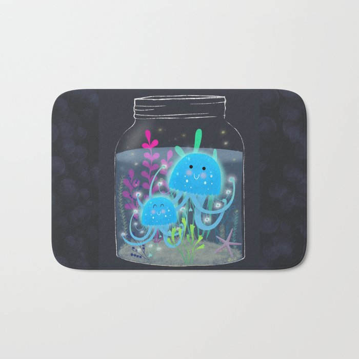 Vacation Memories With Jellyfish In A Jar Bath Mat