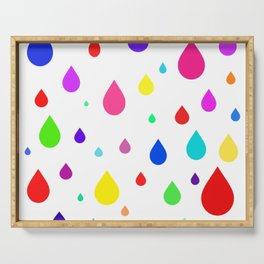 colorful raindrops Serving Tray