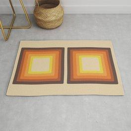 Retro 70s Style Square Mid Century Modern Art Abstract Geometric Rug