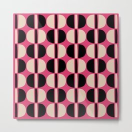 Mid Century Modern Geometric Pattern 150 Beige Black and Pink Metal Print