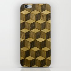 Optical wood cubes iPhone & iPod Skin
