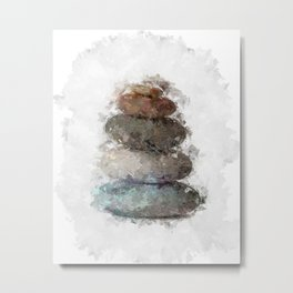 Abstract Stacked Stones 2 - soft neutrals, nature Metal Print