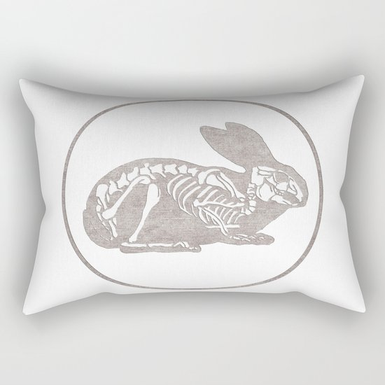 In which a rabbits anatomy is observable  Rectangular Pillow