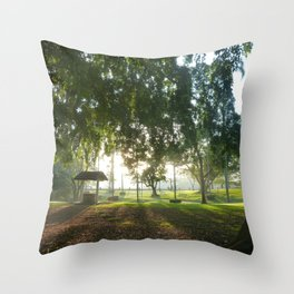 Misty Morning- Queens Park, Maryborough QLD Throw Pillow
