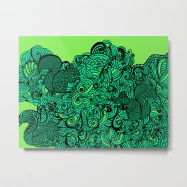 Squirrels Zentangle Drawing Green Metal Print
