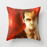 moriarty Throw Pillows featuring Jim Moriarty by AkiMao