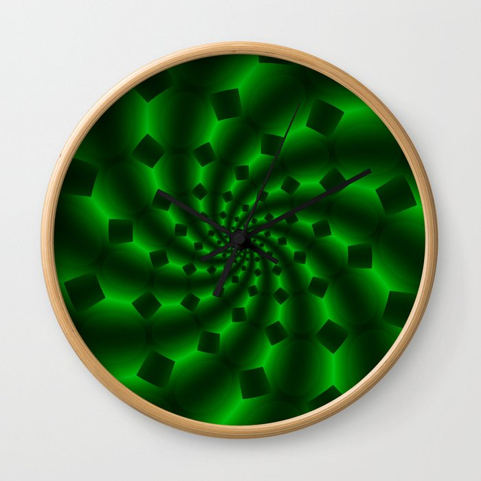 Tess Fractal in Magical Emerald Green Wall Clock